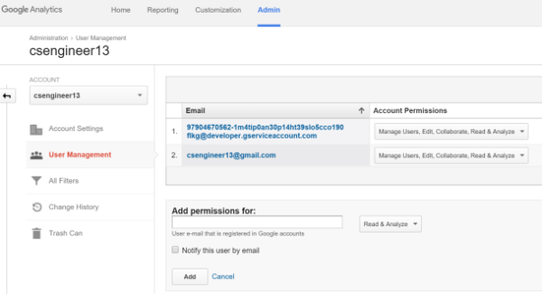 example of adding a service account in google developer console