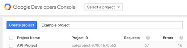 example of creating a new project in google developer console